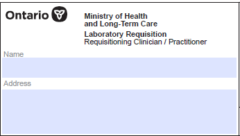 Lab Requisition logo containing Ontario: Ministry of Health and Long Term Care